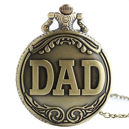 XLORDX Vintage Taschenuhr Herren Unisex Quarz Uhr mit Halskette Kette uhr Pocket Watch Geschenk DAD
