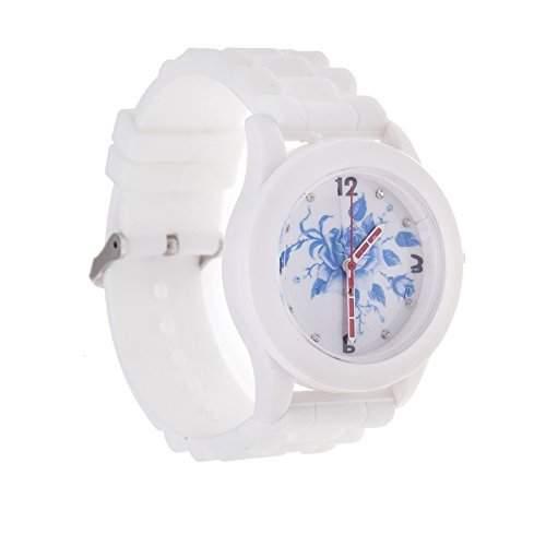 Entzueckende Modische Beste Qualitaet Silikon Quarz Armband Uhr In Farbe Weiss Mit Blaue Rose Muster  Design Anzeige Von VAGA