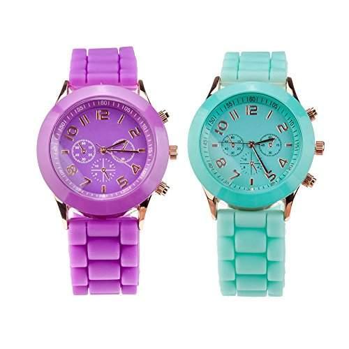 Set Von 2 Stilvolle Hochqualitative Silikon Quarz Armbanduhren  Armband Uhren In Fluoreszierend Tuerkis Und Lila Farben Von VAGA