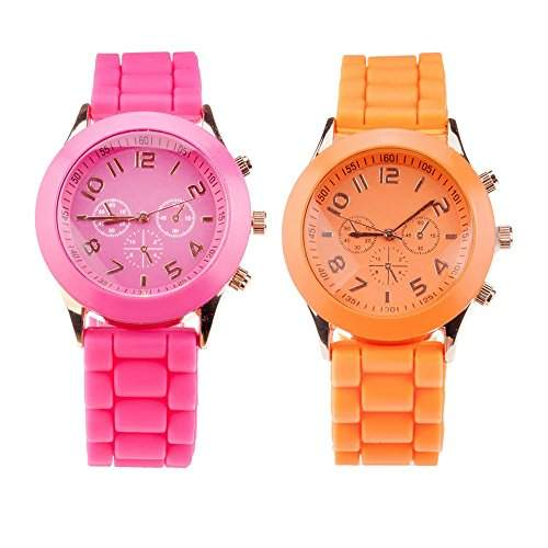 Set Von 2 Trendy Hochqualitative Silikon Quarz Armbanduhren  Armband Uhren In Fluoreszierend Hot Pink Und Orange Farben Von VAGA