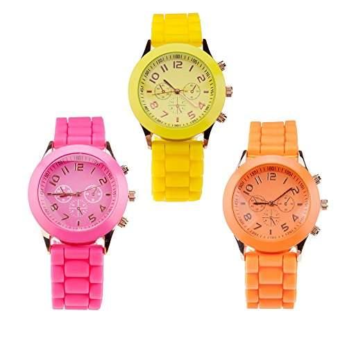 Set Von 3 Trendy Hochqualitative Silikon Quarz Armbanduhren  Armband Uhren In Fluoreszierend Hot Pink, Orange Und Gelbe Farben Von VAGA