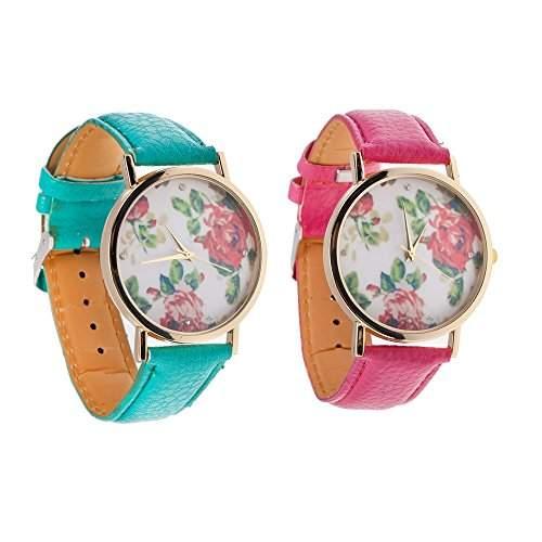 Set Von 2 Beste Qualitaet Bezaubernde Vintage Stil Damen Quarz Armbanduhren  Armband Uhren Mit Pinke und Tuerkise PU Baender, Goldenen Gehaeuse Und Pinke Rosen Blumen Muster Auf Anzeigen Von VAGA