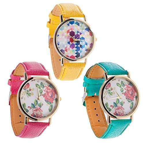 Set Von 3 Beste Qualitaet Vintage Stil Damen Quarz Armbanduhren  Armband Uhren Mit Pinke und Tuerkise PU Baender, Goldenen Gehaeuse Und Pinke Rosen Blumen Und Sechseckige Muster Auf Anzeigen Von VAGA