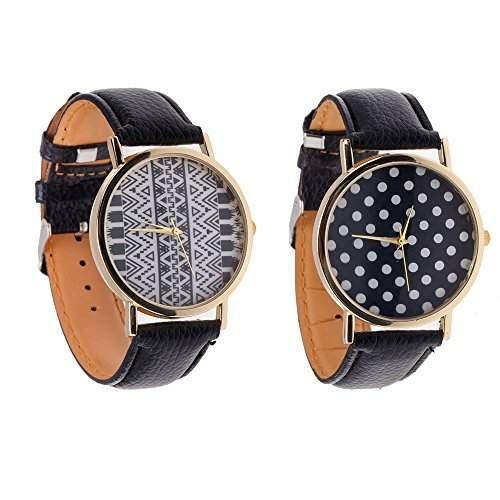 Set Von 2 Stilvolle Damen Herren Quarz Armbanduhren  Armband Uhren Mit Schwarze PU Baender, Goldene Gehaeuse Mit Geometrische Muster Und Polka Punkte Auf Anzeigen Von VAGA
