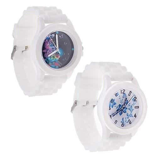 Set Von 2 Raffiniert Trendy Beste Qualitaet Silikon Quarz Armbanduhren  Armband Uhren In Weisse Farbe Und Blumen Muster Auf Anzeigen Von VAGA