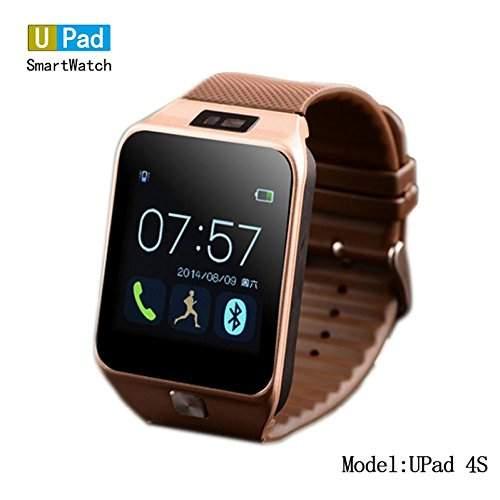 Beauty Gift Upad Smartwatch 4S Ios Android Smart Gold Watch Bluetooth-Armbanduhr, Led-Anzeige und Ziffernblatt und Alarm Musik-PlayerSchrittzaehler