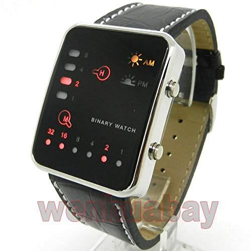 Beauty Rot, Led Uhr, Binaer, Schwarz-Digital Sport Herren und Damen aus Leder Fashion L0506