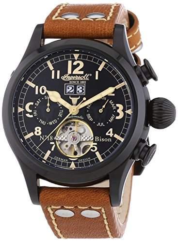 Ingersoll Herren-Armbanduhr XL Bison N018 Chronograph Automatik Leder IN4506BBK