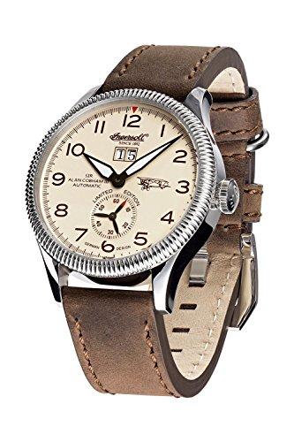 Ingersoll Armbanduhr Automatik Sir Alan Cobham 3 Analoge Uhr mit Datum braunem Lederarmband und beigem Zifferblatt 50m 5atm IN3108SCR