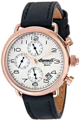 Ingersoll Quarz Balfour mit silber Zifferblatt Chronograph Anzeige und schwarz Lederband INQ008SLRS