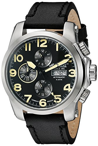 Ingersoll Unisex Automatik Uhr mit schwarzem Zifferblatt Analog Anzeige und schwarz Lederband in2301sbk