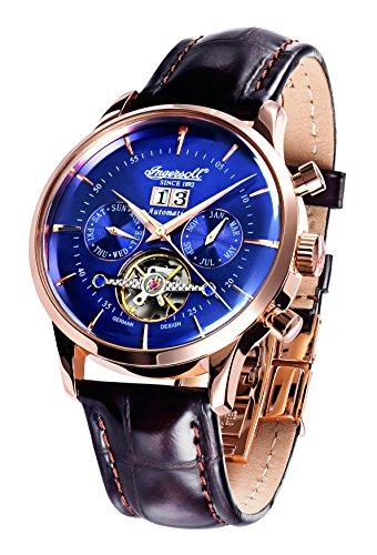 Ingersoll Unisex Automatik Uhr mit schwarzem Zifferblatt Analog Anzeige und schwarz Lederband in1709rbl
