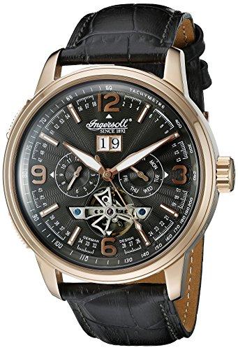 Ingersoll Unisex Automatik Uhr mit schwarzem Zifferblatt Analog Anzeige und schwarz Lederband in1222rgbk