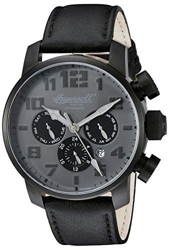 Ingersoll Unisex Automatik Uhr mit schwarzem Zifferblatt Analog Anzeige und schwarz Lederband in1224bkgy