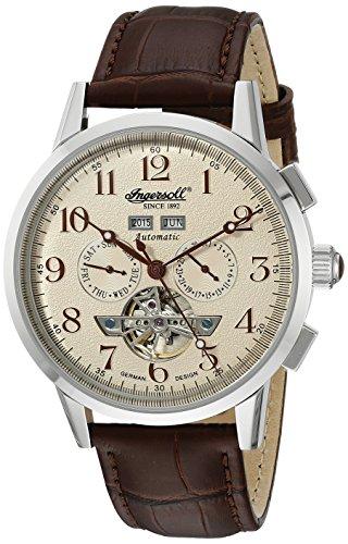 Ingersoll Unisex Automatik Uhr mit weissem Zifferblatt Analog Anzeige und braunem Lederband in4411cr