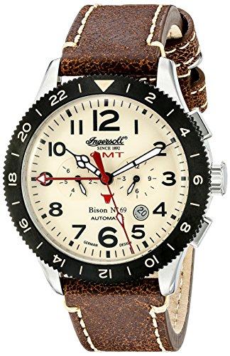 Ingersoll Unisex Automatik Uhr mit weissem Zifferblatt Analog Anzeige und braunem Lederband in3224cr