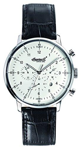 Ingersoll Herren Automatik Uhr mit weissem Zifferblatt Chronograph Anzeige und schwarzes Lederband Herren