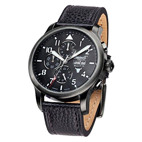 Ingersoll in1221gubk schwarz Leder Strap Band Schwarz Zifferblatt Armbanduhr