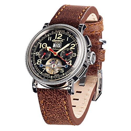 Ingersoll in1827bkcr braun Leder Strap Band Schwarz Zifferblatt Armbanduhr