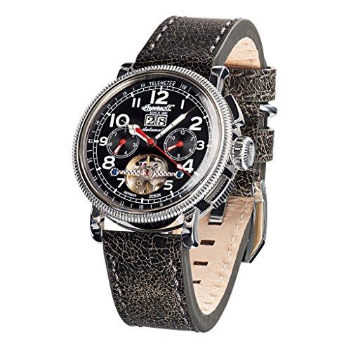 Ingersoll in1827bkwh schwarz Leder Strap Band Schwarz Zifferblatt Armbanduhr