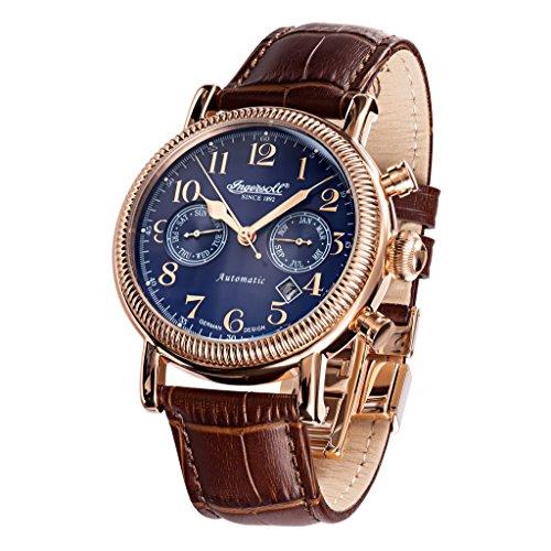 Ingersoll in1828rbl braun Leder Strap Band Blau Zifferblatt Armbanduhr