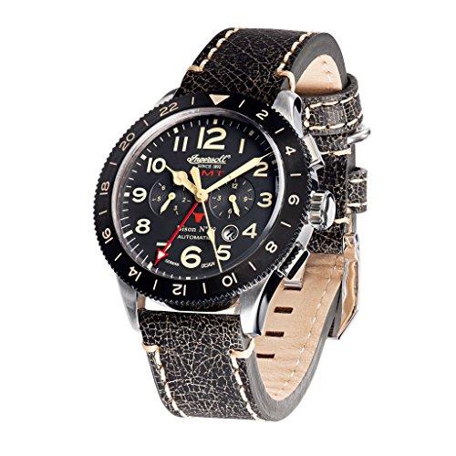 Ingersoll in3224bk schwarz Leder Strap Band Schwarz Zifferblatt Armbanduhr