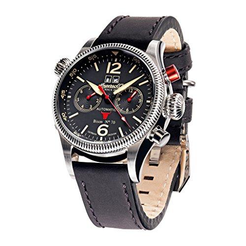 Ingersoll in3225bk schwarz Leder Strap Band Schwarz Zifferblatt Armbanduhr