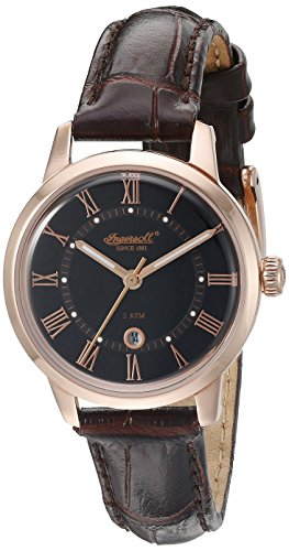 Ingersoll Quarz Frauen Quarz Uhr mit schwarzem Zifferblatt Analog Anzeige und braunem Lederband inq044bkrs
