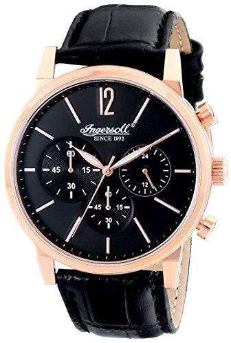 Ingersoll Herren Quarzuhr mit schwarzem Zifferblatt Chronograph Anzeige und braunem Lederband Quartz Portland INQ016BKRS