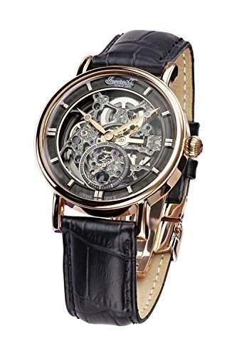 Ingersoll Armbanduhr Herrenuhr Automatik Nez Percé - Analoge Uhr mit schwarzem Lederarmband und grauem Zifferblatt - 30m3atm - IN1918RBK