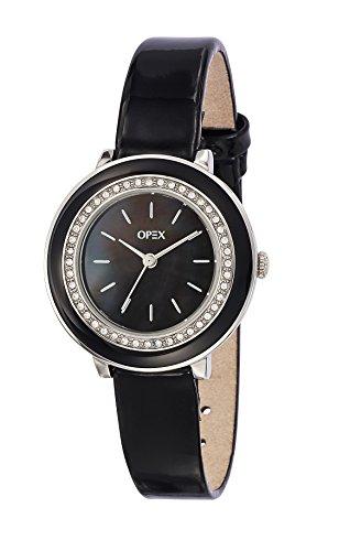 Betriebswirtschaftslehre x4121la1 Perla Damen Armbanduhr Quarz Analog Ziffernblatt Perlmutt Armband Leder Schwarz