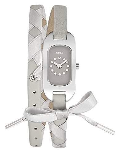 Opex - X0391LF6 Damen-Armbanduhr Ballerina, Analog Leder, Graues Zifferblatt, graues Armband