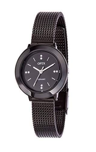 opex-x3925ca1luxia-women s Armbanduhr Analog Quarz Schwarz Zifferblatt Stahl Strap, schwarz