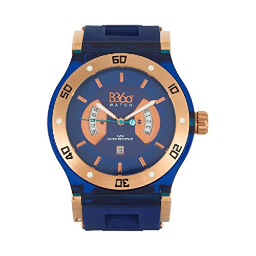 B360 WATCH Unisex Armbanduhr Large 5 bars Analog Quarz Silikon B CLASS TG NAVY L