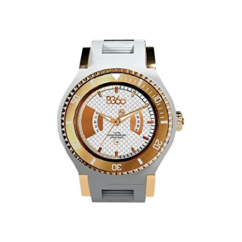 B360 WATCH Unisex Armbanduhr Large 10 bars Analog Quarz Silikon NEW WHITE GOLD L