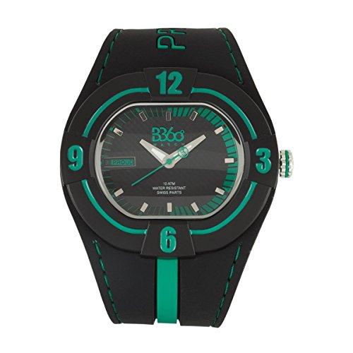 B360 WATCH Unisex Armbanduhr Large 10 bars Analog Quarz Silikon NP BLACK GREEN L