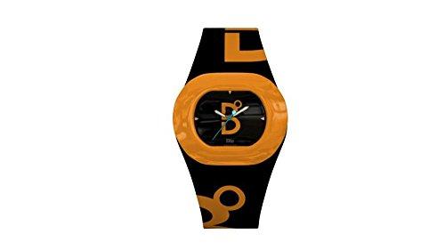 B360 WATCH Unisex Armbanduhr Large 3 bars Analog Quarz Silikon B COOL Black and Orange