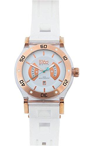 B360 WATCH Unisex Armbanduhr Large 5 bars Analog Quarz Silikon B CLASS IPR Gold White L