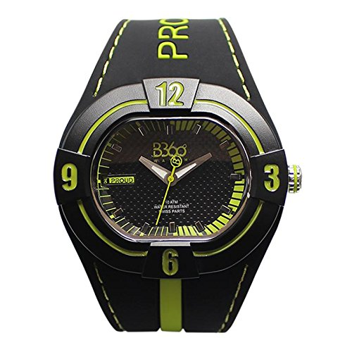 B360 WATCH Unisex Armbanduhr Large 10 bars Analog Quarz Silikon B PROUD NEW BLACK LIME L