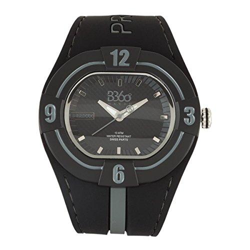 B360 WATCH Unisex Armbanduhr Large 10 bars Analog Quarz Silikon B PROUD NEW BLACK GRAY L