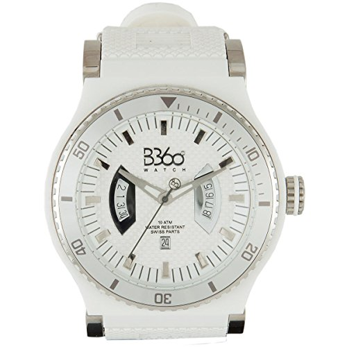 B360 WATCH Unisex Armbanduhr Large 10 bars Analog Quarz Silikon NEW WHITE SILVER L
