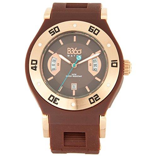 B360 WATCH Unisex Armbanduhr Medium 5 bars Analog Quarz Silikon B Class GOLD BROWN M