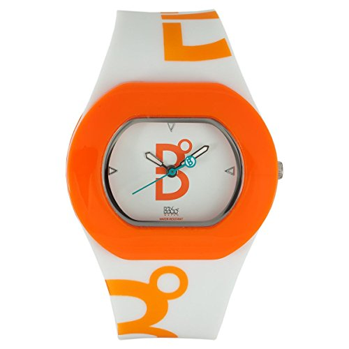 B360 WATCH Unisex Armbanduhr Medium 3 bars Analog Quarz Silikon B COOL White Orange M