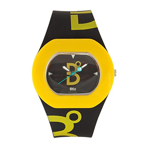 B360 WATCH Unisex Armbanduhr Small 3 bars Analog Quarz Silikon B COOL Black and Dark Yellow