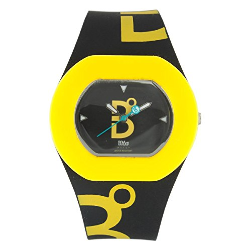 B360 WATCH Unisex Armbanduhr Small 3 bars Analog Quarz Silikon B COOL Black and Yellow