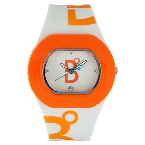 B360 WATCH Unisex Armbanduhr Small 3 bars Analog Quarz Silikon B COOL WHITE ORANGE
