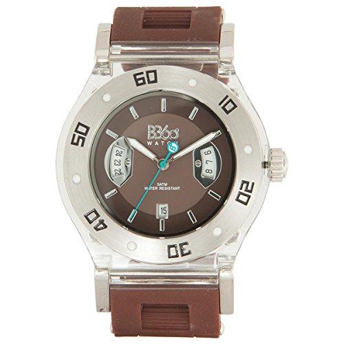 B360 WATCH Unisex Armbanduhr B CLASS Medium 5 bars Analog Quarz Silikon Brown Clear M