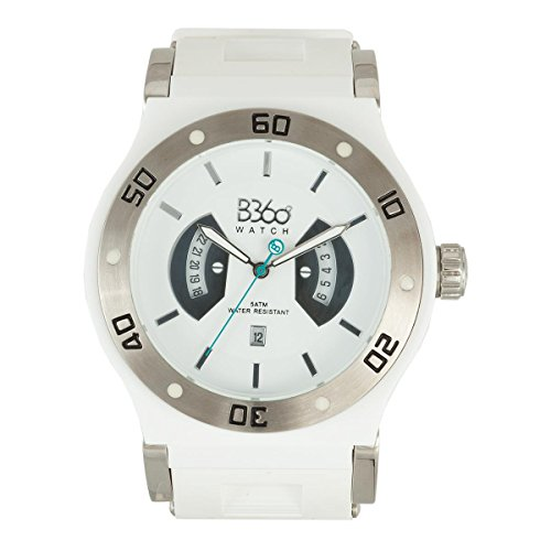 B360 WATCH Unisex Armbanduhr B CLASS Large 5 bars Analog Quarz Silikon Silver White L