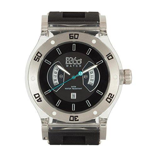 B360 WATCH Unisex Armbanduhr Large 5 bars Analog Quarz Silikon B CLASS BLACK CLEAR L