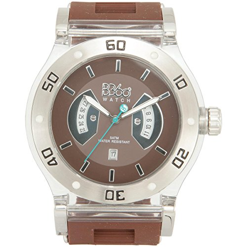 B360 WATCH Unisex Armbanduhr Large 5 bars Analog Quarz Silikon B CLASS BROWN CLEAR L